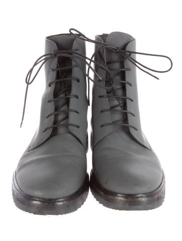 Coated Leather Combat Boots