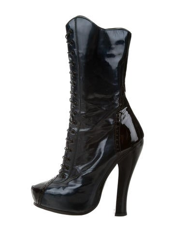 Marc Jacobs Leather Platform Mid-Calf Boots