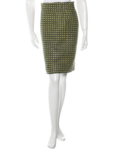 Marc Jacobs Tweed Pencil Skirt None