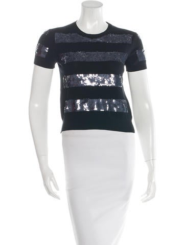 Marc Jacobs Sequin-Embellished Cropped Top None