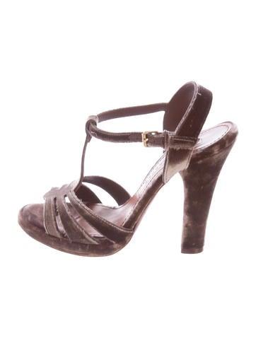 Marc Jacobs Velvet T-Strap Sandals None