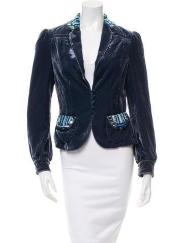 Marc Jacobs Velvet Sequin-Accented Jacket None