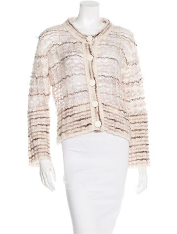 Marc Jacobs Open Knit Striped Cardigan None