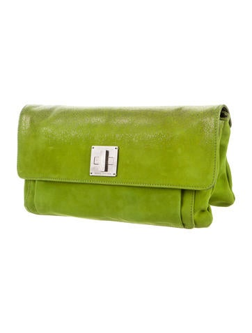 Suede Flap Clutch