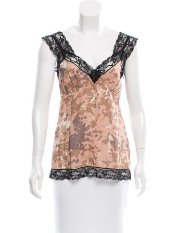 Marc Jacobs Printed Lace-Trimmed Top None