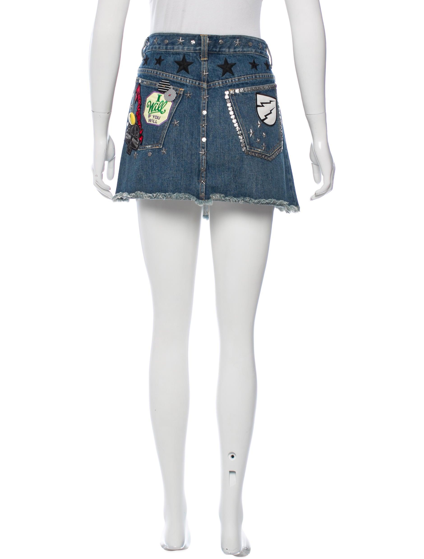 marc embellished denim skirt clothing mar41858