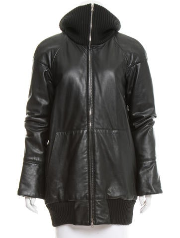 Marc Jacobs Rib Knit-Trimmed Leather Jacket None