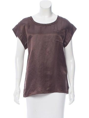Marc Jacobs Linen & Silk-Blend Short Sleeve Top None