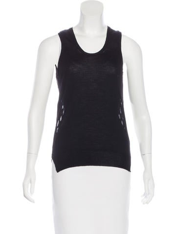 Marc Jacobs Wool-Blend Mesh-Paneled Top None