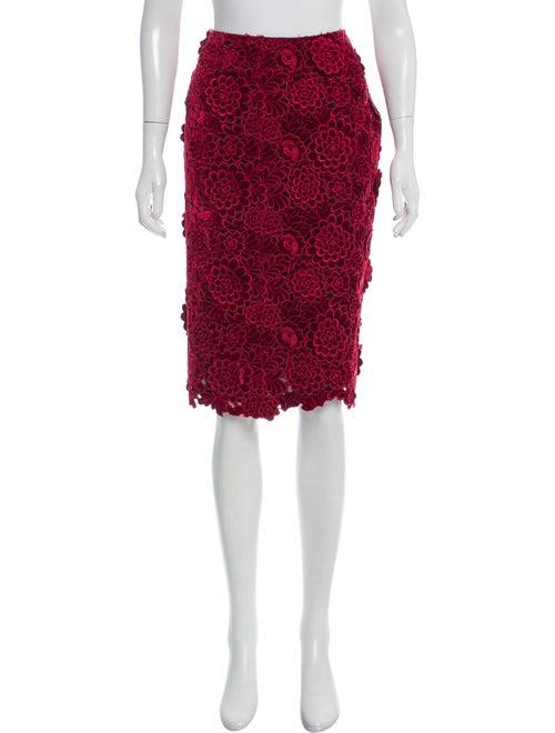 Marc Jacobs Velvet Knee-Length Skirt Red