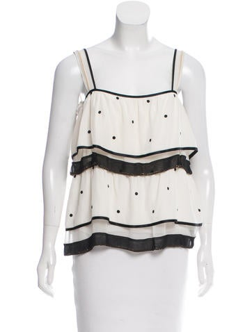 Marc Jacobs Embellished Silk Top None