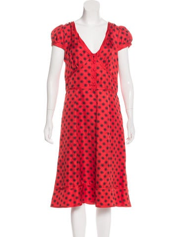 Marc Jacobs Silk Printed Dress None