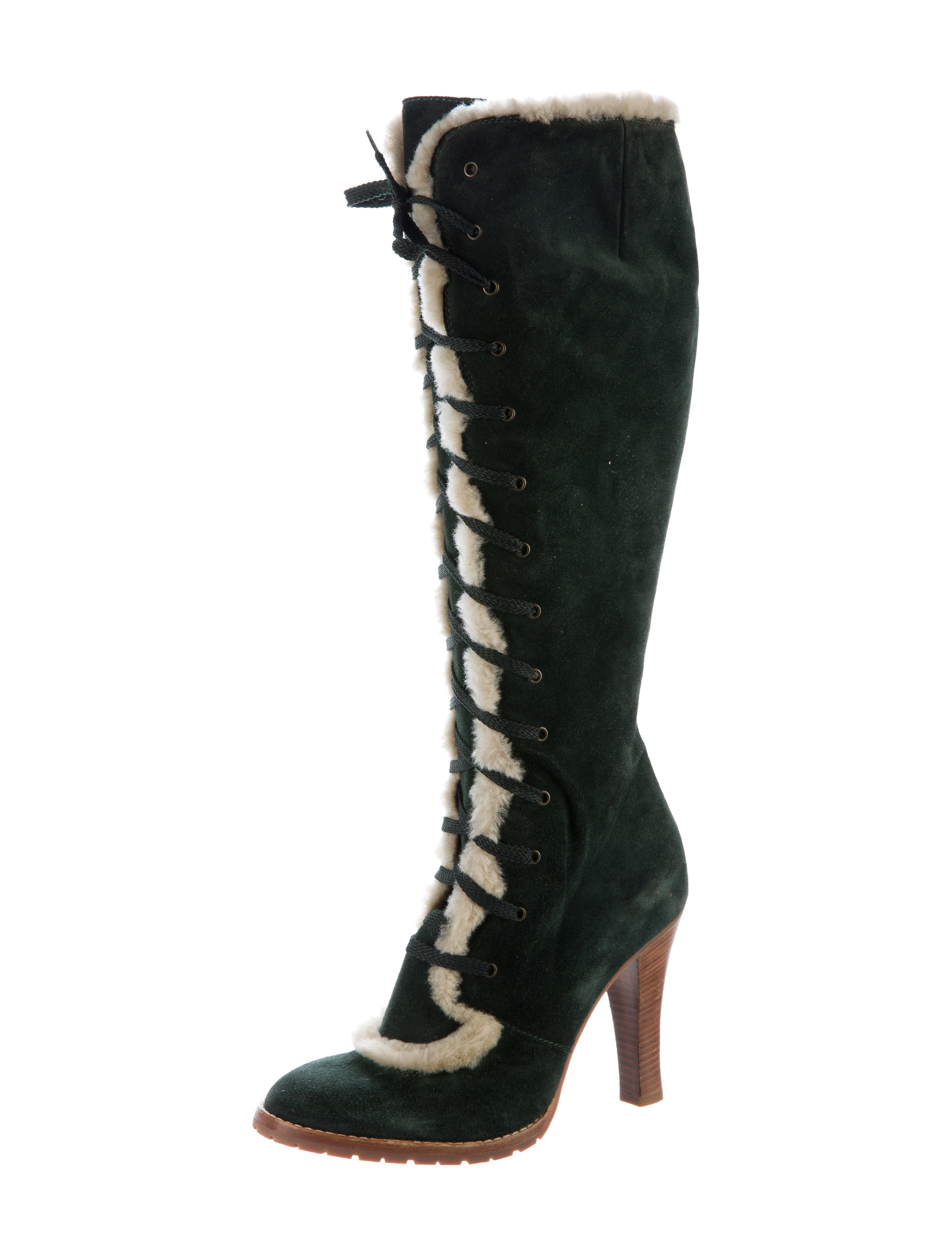 marc fur trimmed knee high boots shoes mar46528