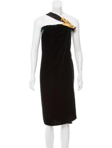 Marc Jacobs One-Shoulder Velvet Dress None