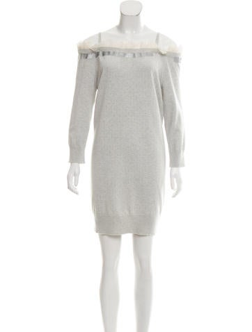 Marc Jacobs Off-The-Shoulder Wool Dress None