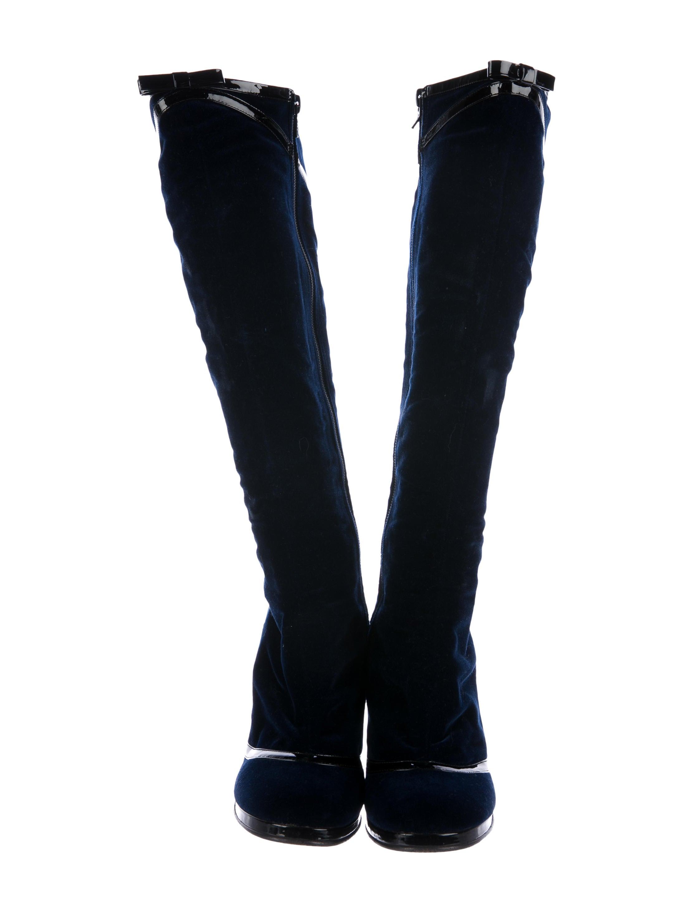 marc velvet knee high boots shoes mar48168