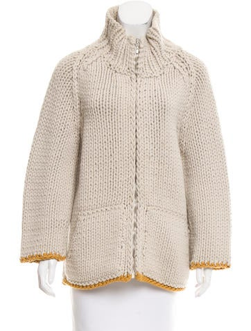 Marc Jacobs Rib Knit Zip-Up Sweater None
