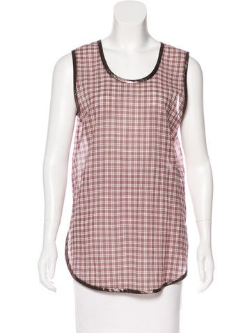 Marc Jacobs Metallic Trimmed Plaid Top None