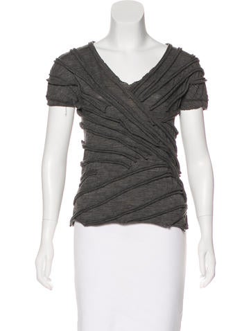 Marc Jacobs Wool Raw-Edge Top None