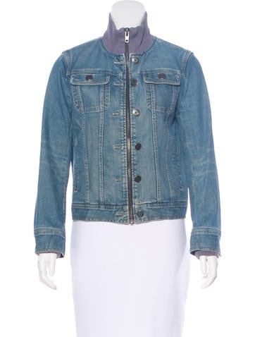 Marc Jacobs Denim Rib Knit-Trimmed Jacket None
