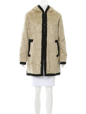Marc Jacobs Shearling Hooded Coat None
