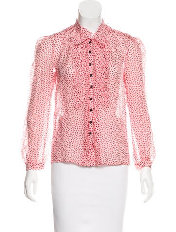 Marc Jacobs Silk Long Sleeve Top None