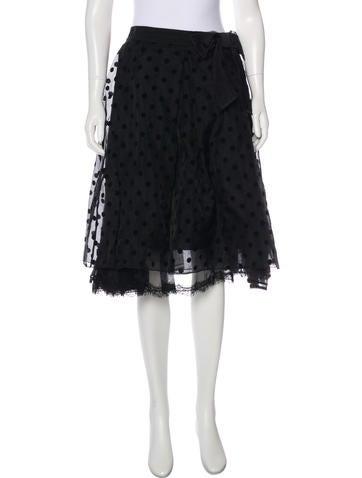 Marc Jacobs Silk Flocked Skirt None