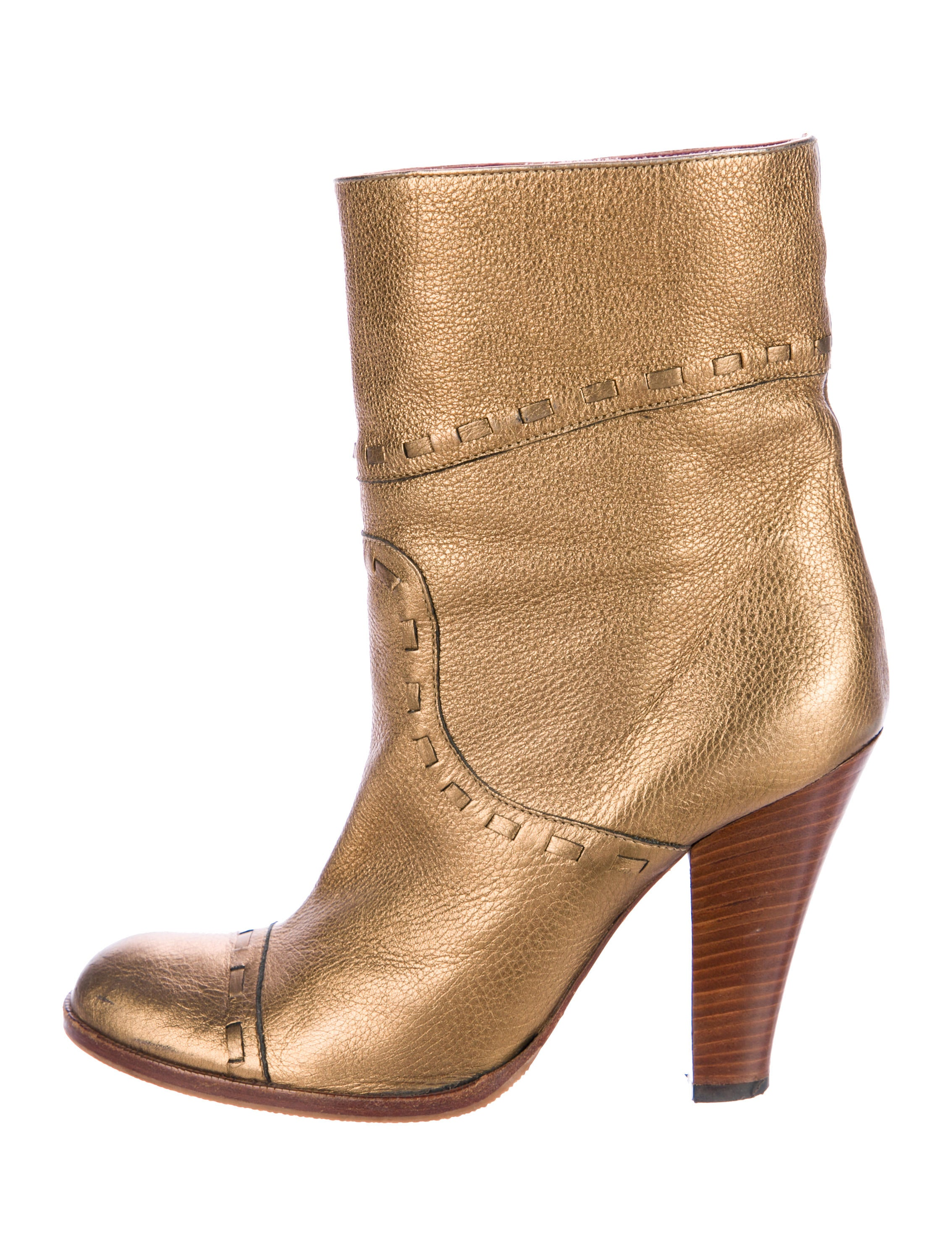 Metallic Leather Boots : Marc jacobs metallic leather ankle boots shoes