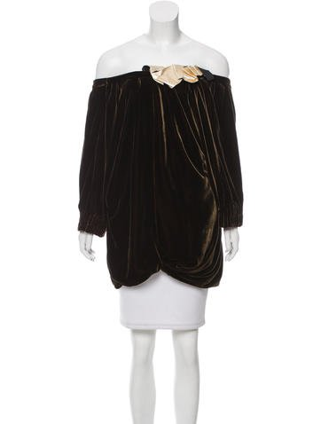 Marc Jacobs Leather-Accented Velvet Top None