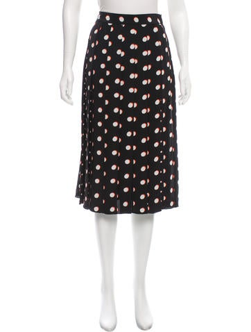 Marc Jacobs Silk Pleated Skirt None