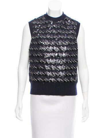 Marc Jacobs Sequined-Accented Wool Top w/ Tags None