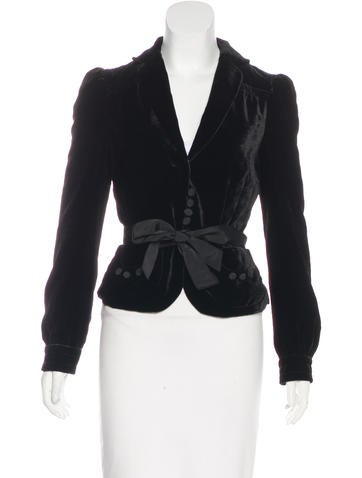 Marc Jacobs Velvet Cropped Blazer None
