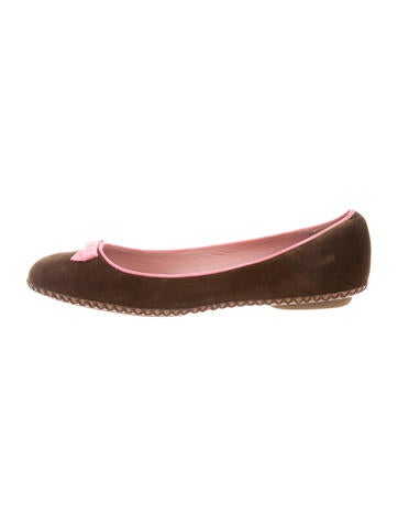 Marc Jacobs Velvet Round-Toe Flats None