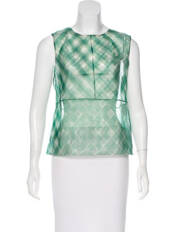 Marc Jacobs Gingham Print Organza Top None
