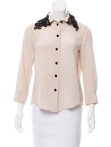 Marc Jacobs Embroidered Silk Top None