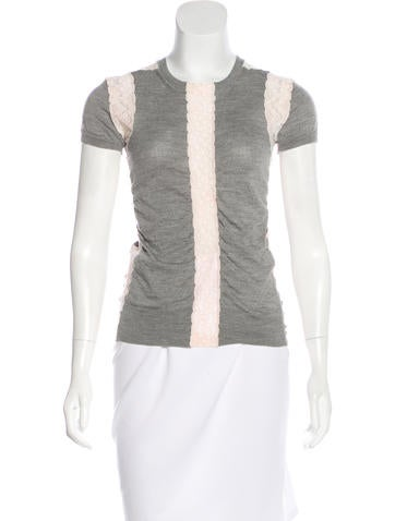 Marc Jacobs Lace-Accented Knit Top None