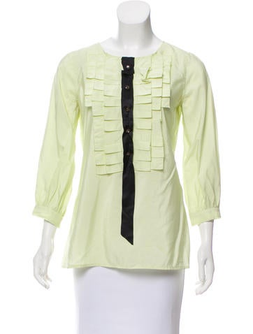 Marc Jacobs Ruffle-Trimmed Silk Top None