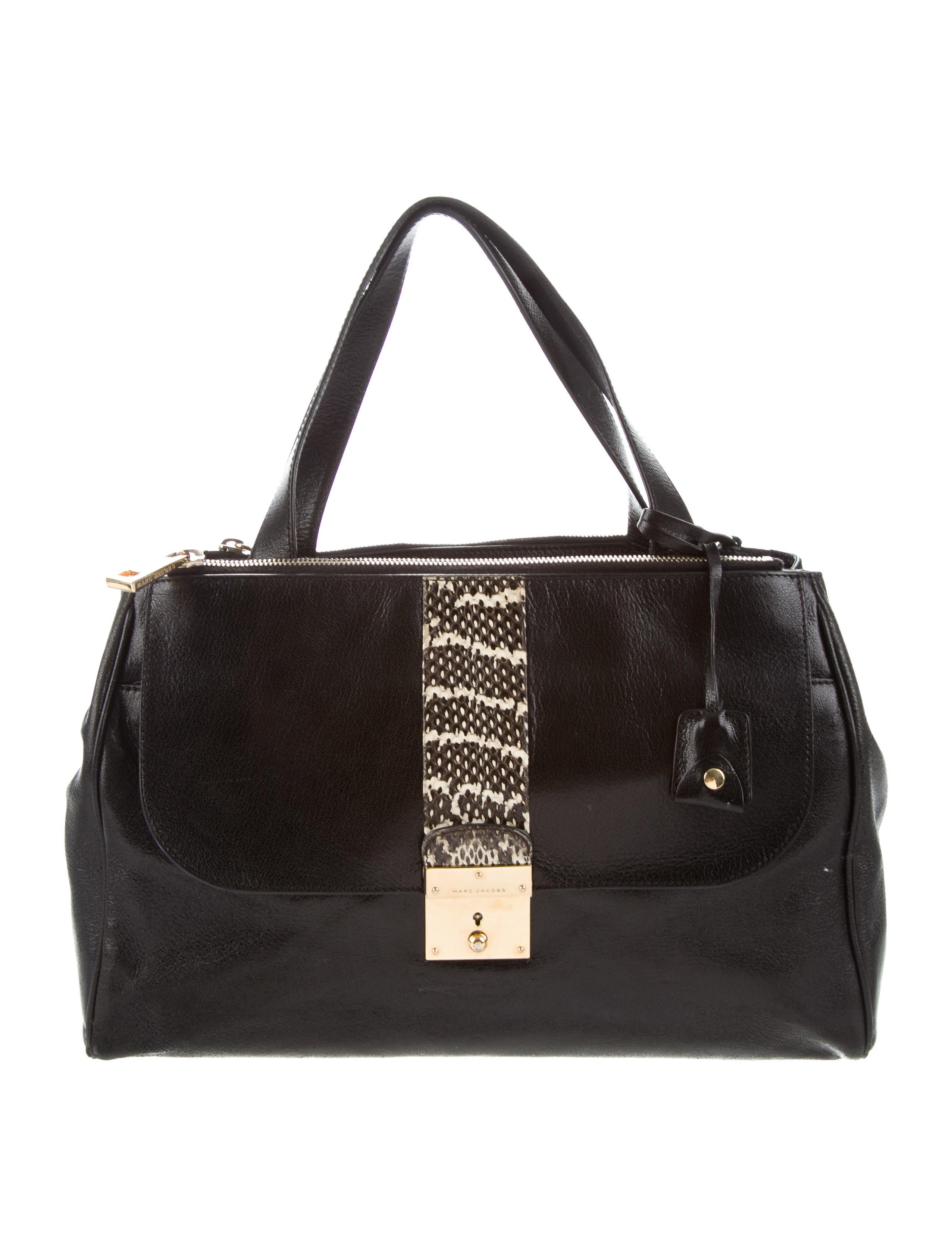 67e3778321a0 Marc Jacobs Snakeskin-Trimmed Tote Bag - Handbags - MAR62891