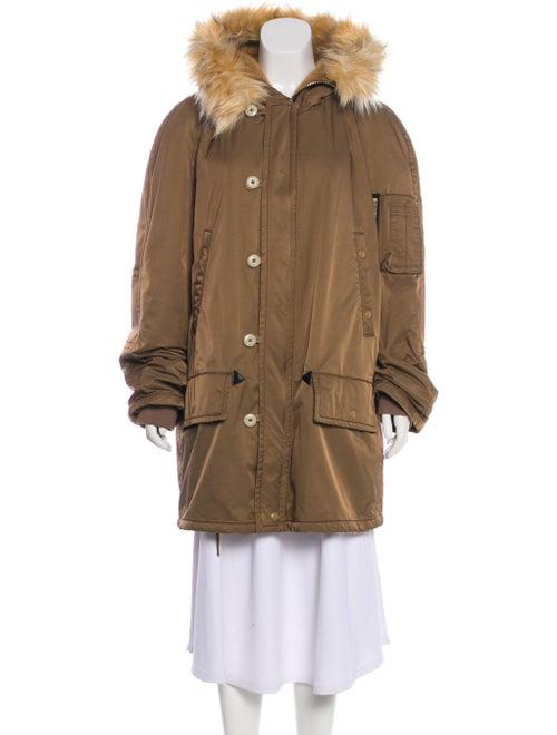 Marc Jacobs Faux Fur Hooded Jacket Khaki
