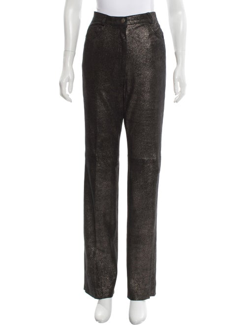 Marc Jacobs High-Rise Leather Pants Metallic