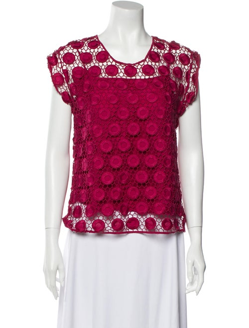 Marc Jacobs Lace Pattern Scoop Neck Blouse Red