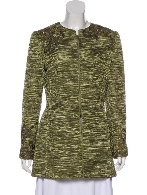 Mary McFadden Embellished Silk Coat Green