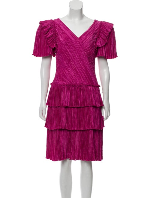 Mary McFadden Vintage Tiered Dress Magenta