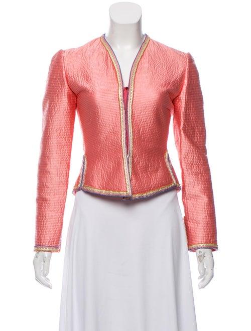 Mary McFadden Embellished Satin Jacket Pink
