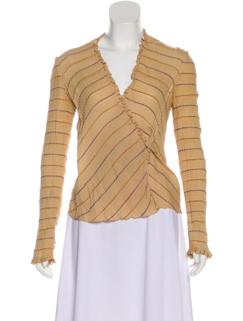 Mary McFadden Silk Wrap Top Tan