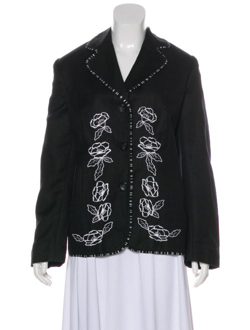 Mary McFadden Linen Embroidered Blazer Black