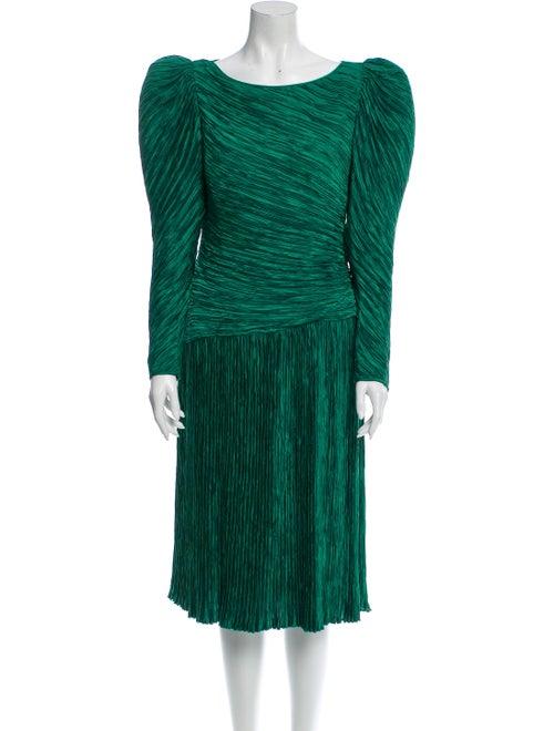 Mary McFadden Scoop Neck Midi Length Dress Green
