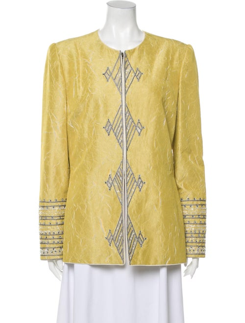 Mary McFadden Printed Evening Jacket Yellow