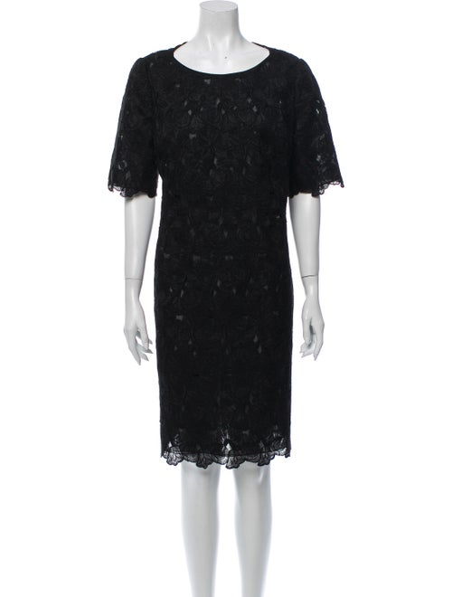 Mary McFadden Lace Pattern Knee-Length Dress Black
