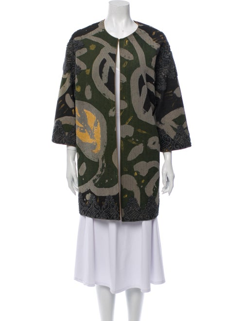 Mary McFadden Printed Coat Green